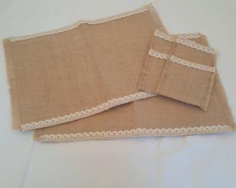 Hessian table mat set/burlap table mat set/ table mat set