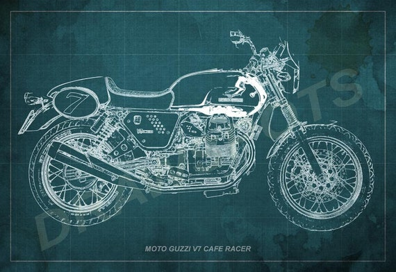 Moto guzzi cafe racer blueprint 12x8 in to 60x41 in tamaos malvernweather Images