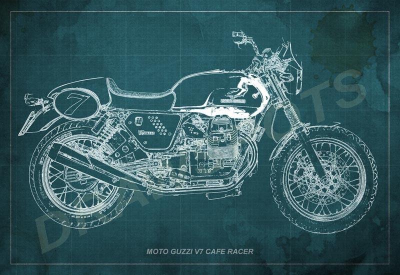 Moto guzzi cafe racer blueprint art print 12x8 to 60x41 in zoom malvernweather Images