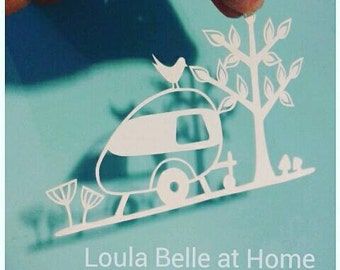 Caravan of Love, an original papercut template by Loula Belle at Home, personal use and use with commercial licence