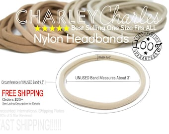 Nylon Headbands Wholesale / Wholesale Spandex Headband / Skinny Very Stretchy One Size Fits most Nylon