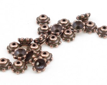 Copper Bead Caps 5mm Antique Copper Beadcaps TierraCast Pewter 5mm BEADED Copper Caps - Aged Copper Metal Beads (PC47)