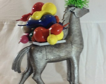 Contemporary art, small horse painted, One of a kind, Bright colors