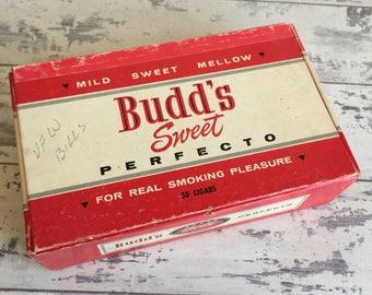 Budd's Perfecto Cigar Box - Cardboard - Mild Sweet Red and White Box