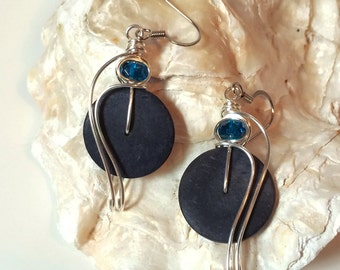 Indigo Blue Earrings, Wire Wrap Earrings, Tribal Jewelry, Dark Blue Earrings, Handmade Jewelry, Coconut Shell Earrings, Blue Jewelry