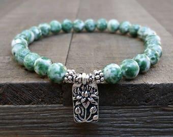 LATE SHIP Tree agate stretch chakra bracelet lotus bracelet wrist mala earthy bracelet