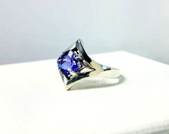 1.30 ct Tanzanite Ring in Sterling Silver / Unique Natural Cushion Cut Blue Gemstone Engagement / See Video! / De Luna Gems / Free Shipping!