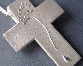 Reserved for BEVERLY, Silver Cross Crucifix, Modern Cross Necklace, large COMPASSION Pendant