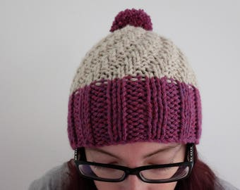 Knitted plum/burgundy winter woolly beanie/slouchy hat with bobble