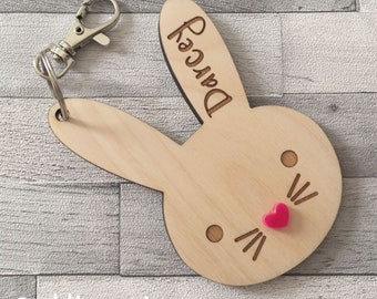 Personalised wooden bunny bag charm