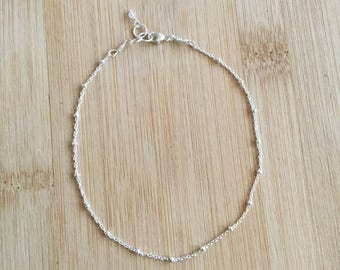 Sterling Silver Anklet, Delicate Silver Anklet, Satellite Chain, Sterling Silver Ankle Bracelet, Plain Anklet Silver, Thin Anklet
