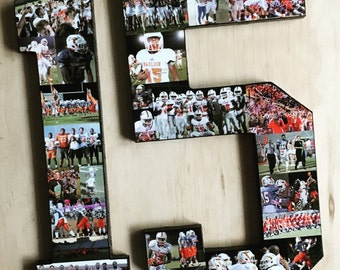 Ships Free! 12 Inch Photo Number Collage, Sports collage. Jersey Number Collage. Senior night and coach gift. Best gift for boyfriends!