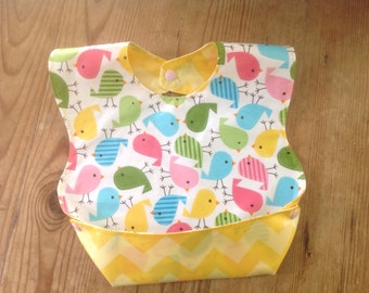 BPA free Laminated Snappy Pocket Bib with Urban Chicks Zoologie by Kaufman with Riley Blake Yellow Chevron, washable, foldable Wipeable