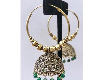 Bollywood Jhumka Earrings, Indian Jewelry, Indian Earrings, Bollywood Jhumka, Ethnic Jewelry , Chandbali Earrings, Green Hoop Wali Bali US