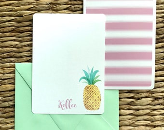 Pineapple stationery, tropical stationery, custom stationery, custom notecards, tropical notecards, reserved listing