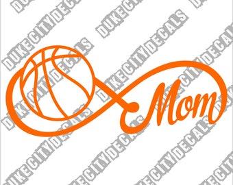 Basketball Mom Forever Infinity Vinyl Sticker Decal - Basketball Team Mom - Basketball Mom Car Sticker