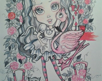 Alice in Pink and Gray ACEO/ATC Artist Trading Cards By the Artist Leslie Mehl