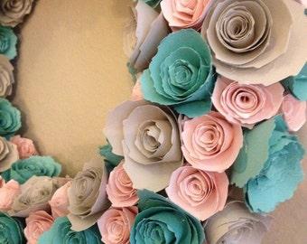 Teal pink grey etsy paper flowersbaby pink flowers teal flowers light gray flowers pink and mightylinksfo