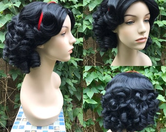 Snow White Black Spiral Curl Park Couture Princess Wig