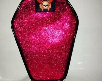Coffin Glitter Pink make up pouch