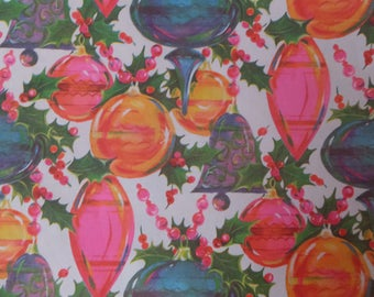 Vintage Pink Orange Aqua Blue Purple Ornaments Holly Berries Gift Wrap Wrapping Paper
