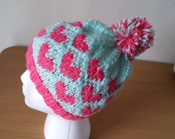 Mint and Coral Heart Hat