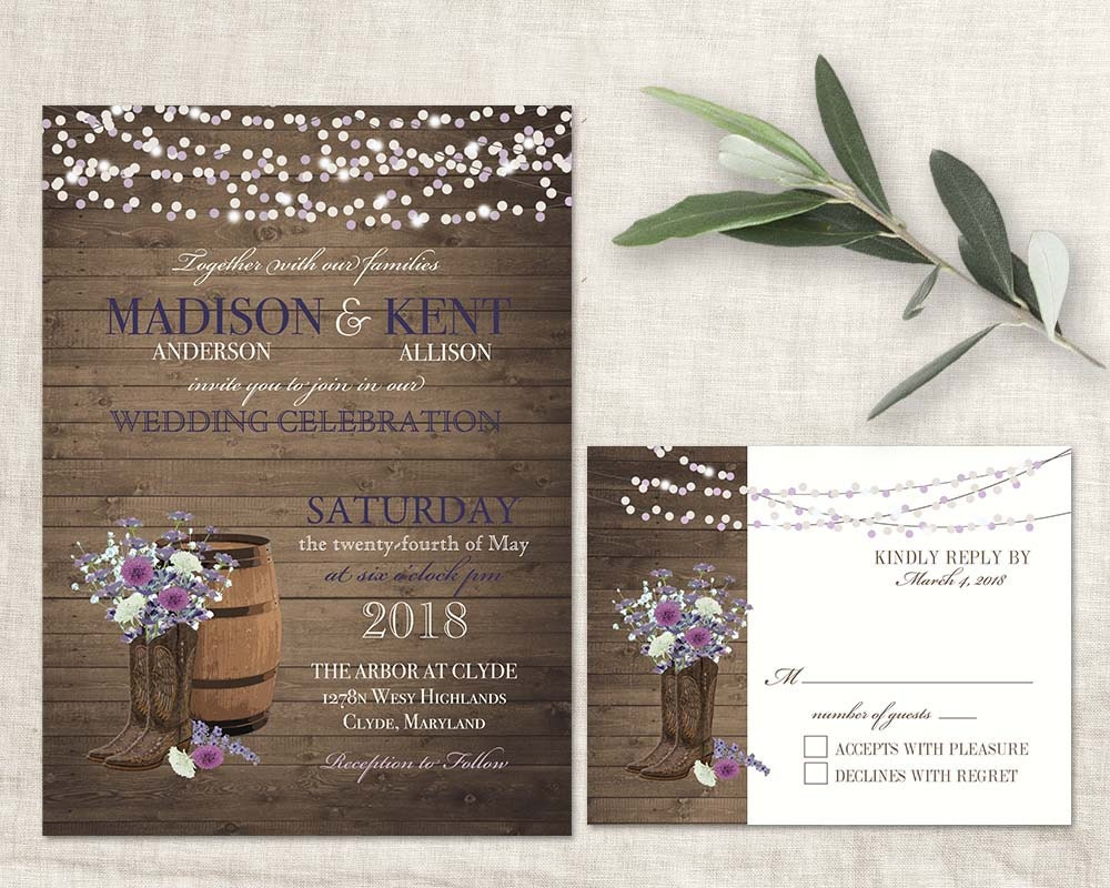 Boots Wedding Invitations: Western Wedding Invitations Cowboy Boots Lavender Lilac