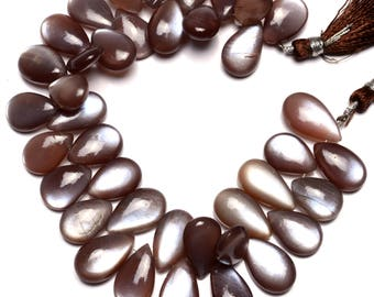Natural Gemstone Brown African Moonstone Strong Flash Pear Shape Briolettes 8 Inch Full Strand 15x10 to 17x11MM Super Quality Hand Polished