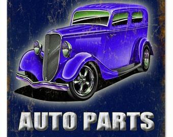 "Midnight Auto Parts Hot Rod Sign  12""x18"" RG394"