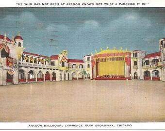 Vintage 1920's -1950's  Linen Postcard Aragon Ballroom, Lawrence new Broadwy, Chicago, ILL
