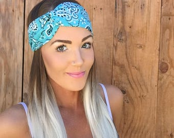Turquoise Blue Bandana Pinup Turban Headband || Hair Band Festival White Black Accessory Workout Yoga Cute Fashion Head Scarf Girl School