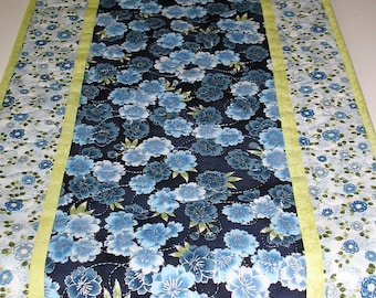 Elegant Table Runner, Floral, blues, quilted, handmade, quilted table runner, Robert Kaufman LaScala