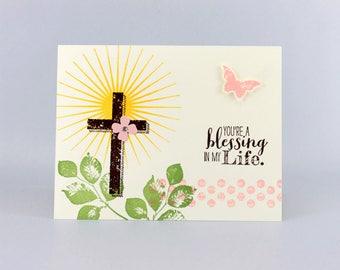 Easter Card - Christian Easter Card - Cross Card - Blessings Card - Hand Stamped Card - Handmade Card - Resurrection Sunday