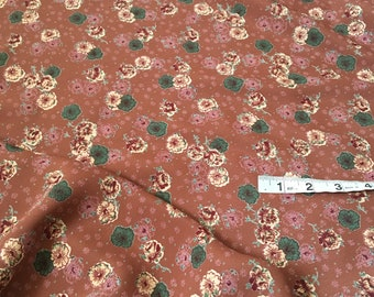 Retro Style Floral Print Fabric by the Yard, Rayon Crepe Fabric Yardage, Fabric by the Yard, Yardage