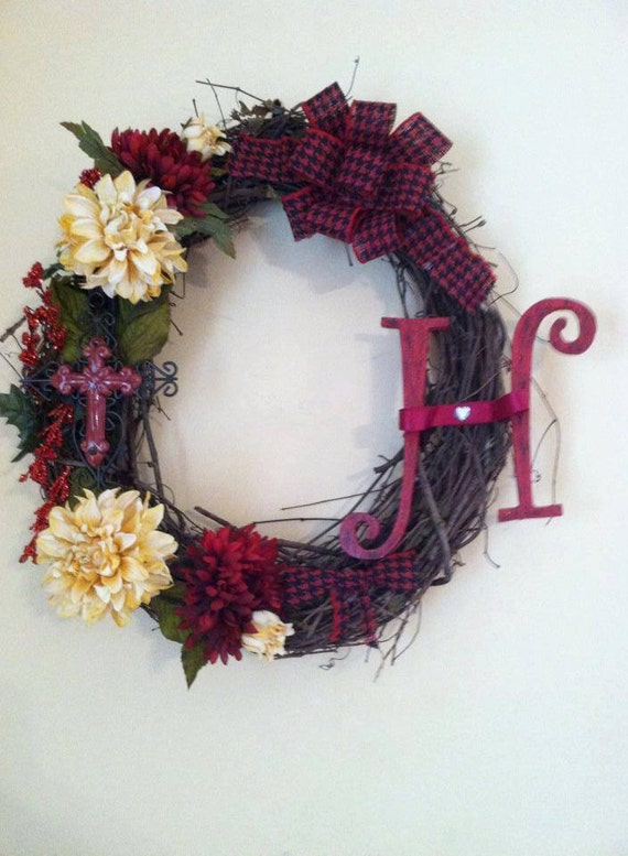 Monogram Wreath - Everyday Wreath - Grapevine Wreath - Wedding Decor - Door Wreath - Holiday Wreath - Cross Wreath - Red and White Wreath