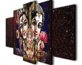 5 Panels Hindu God  Lord Shiva Parvati Landscape Printed on Canvas Wall Art Picture for Home Décor, Contemporary Artwork, Split Canvases