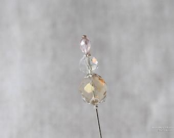 Czech Glass, Yellow, Pink, Crystal, 3 Inch Stick Pin, Silver Tone, Hat Pin, Lapel Pin, Hijab Pin H0379