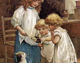 Home Decor, New Baby Kittens Restored Antique Art  #492