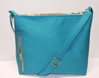 Aqua Blue Canvas Conceal Carry Purse, Women's Handbag, CCW Crossbody Bag