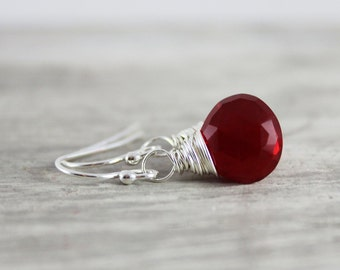 Apple Red Earrings, Quartz Gemstone Earrings, Bright Red Earrings, Small Drop Earrings, Sterling Silver Earrings, Wire Wrap Earrings