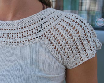Vintage Natural Crochet Sleeve Blouse Extra Small