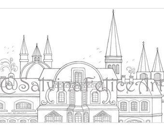 Frankfurt City Coloring pages, download, digital print from my original design to the stretch, to be colored, downloadable, urban landscape,
