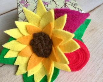Handmade Sunflower, Ranunculus & Roses Flower Bouquet Hair Clip Accessory