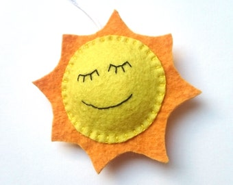 Felt smiling Sun ornament nursery decor home decoration for kids room Housewarming Baby shower gift for her for him gift idea home design