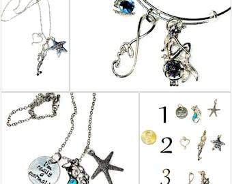 Custom SILVER MERMAID Charms Beach Coastal Keychain Bracelet Necklace Silver Starfish Jewelry Car Mirror Hanging Charm Key Ring