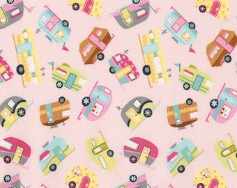 Timeless Treasures Mini Campers Fabric - Pink - Priced by the 1/2 Yard