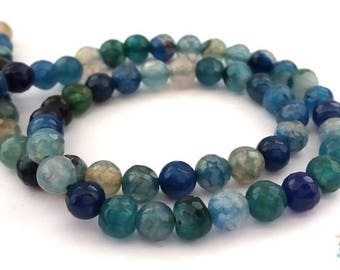 10 beads agate 6mm faceted blue/gray (pg126)