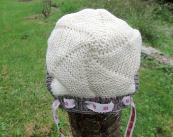 Hand knitted baby bonnet Hat children 18 months to 2 years