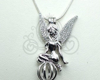 Fairy Pick A Pearl Cage Silver Necklace Pendant Crystal Accents Fairy Angel Wings