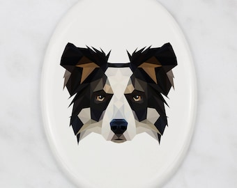 A ceramic tombstone plaque with a Bearded Collie dog. Art-Dog geometric dog